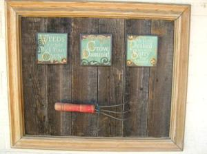 Tool art above the potting shed