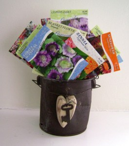 50 seed packets in a 'key to your rusty heart' container