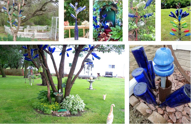 "More blue bottle trees from a Google search top row; below left, Sue Gerdes puts her blue bottle collections at a height that makes them look like blue fruit; more blue bottles ""sprout"" in Nancy K. Meyers' garden."