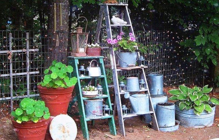 Recycled Garden Art Ideas Recycled garden art flea market gardening old ladders reach new heights in the garden garden junk recycled garden art workwithnaturefo