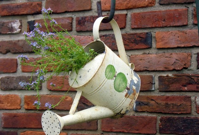 Flowers spill charmingly out of Jenny Alexander's pale yellow watering can