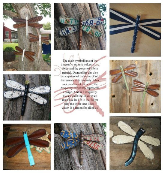 Repurposed Life created a collage f dragonflies meant for the garden.