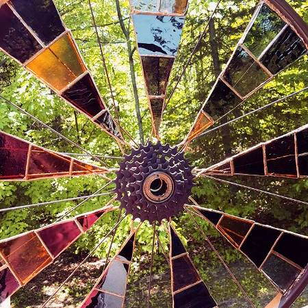 Nicole Greenleaf's version of a bicycle garden spinner