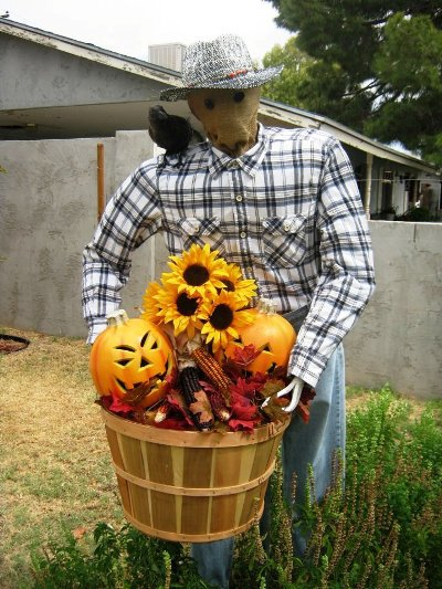 Brian Stephan's scarecrow, Larry, who changes with the seasons.