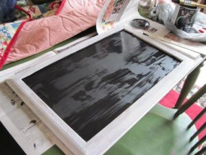 Chalkboard was made from a framed sheet of glass.