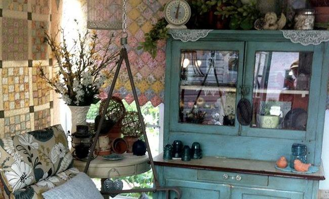 Grandma's hutch and an old tete a tete .