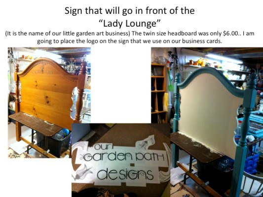 Making the sign meant for the gable top.