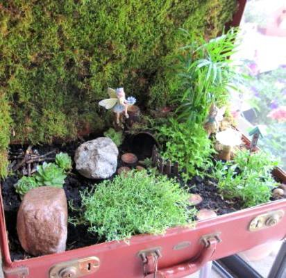 Jeanie's suitcase fairy garden, finished