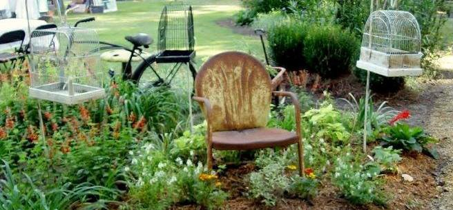 Vintage, Metal, And Bouncy, Motel Chairs In The Garden | Flea Market  Gardening