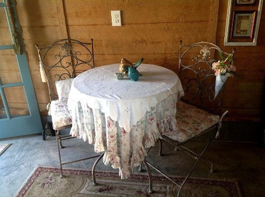 My little bistro table to sit and have an iced tea on a warm afternoon of gardening.