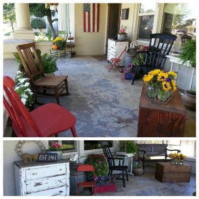 Our awesome front sitting porch, all done in DIY flea market gardening style!