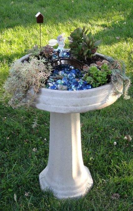Bird bath mini garden
