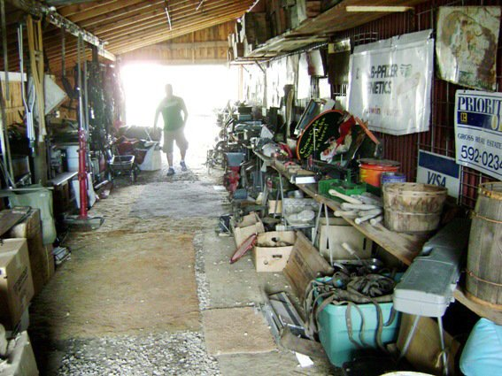 Walking through this tunnel of junkola..it reminded me of my Grandpa's old garage.