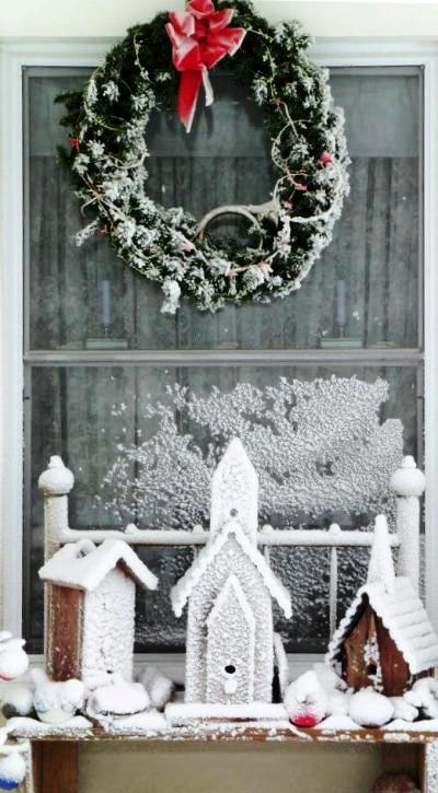 """Terresa Stoll says, """" My flea market and garage sale birdhouses are looking very Christmas-y after yesterday morning's snow storm.."""""""