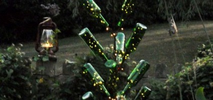Annie's lit-up bottle tree for the garden