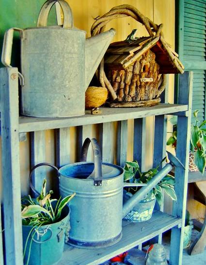 Betty Heffner's shelf for watering cans