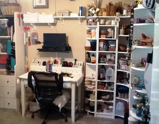 Trish's husband fixed up her workspace