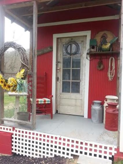 Vicky Thomas's red, white and blue porch