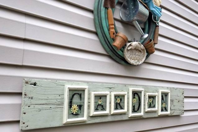 Ann Elias uses small frames to create her 'garden' sign