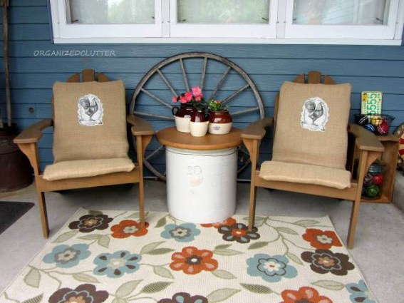 Burlap covered patio chairs