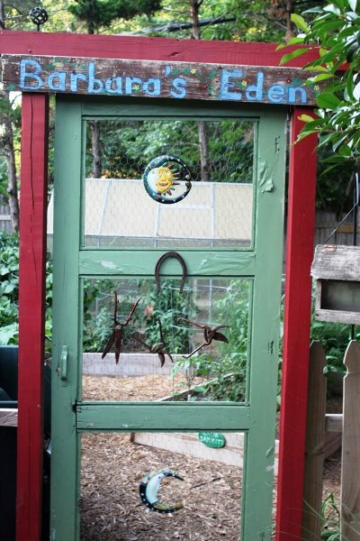 Art 'Gardenfunckle' made this colorful garden door for his wife, Barb