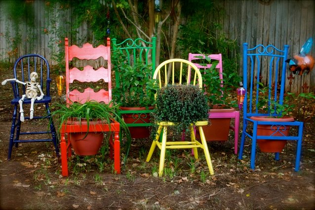 Barb Brashier's bright colored chairs were rescued from the curb