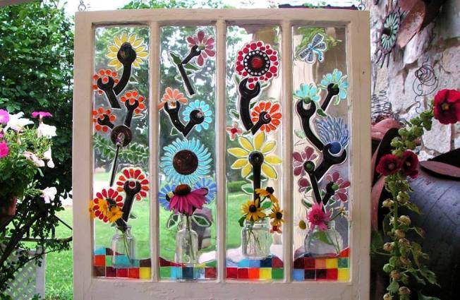 Winsome window mosaics, for the garden