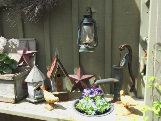 Annie Steen placed one pump on her potting bench