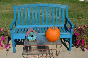 French blue bench