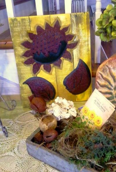 """Here is my latest rusty sunflower art"""