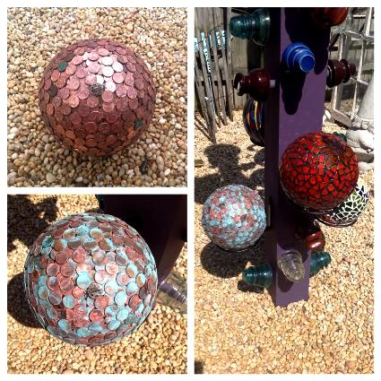 Another penny ball, that I painted to look verdigris