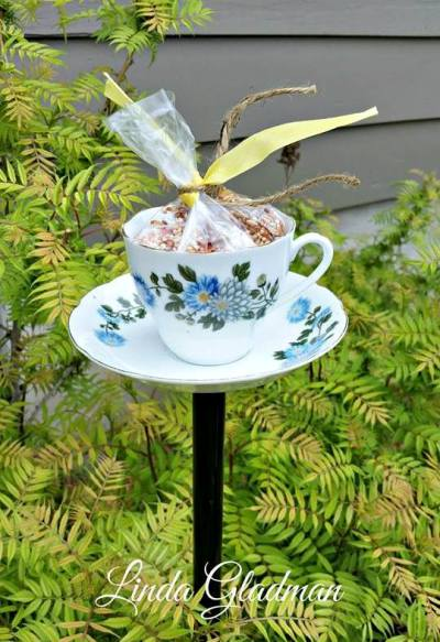 Finished china teacup bird feeder for your garden