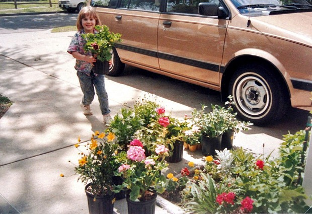 Picking out and unloading flowers from the nursery