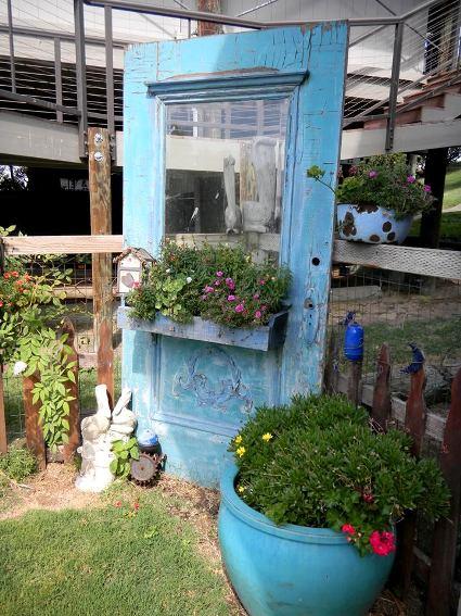 Marie Wirth filled a garden corner with her windowbox door