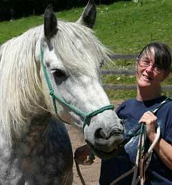Gayle Nastasi with her Percheron friend Zeus