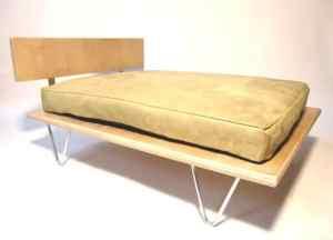 Modern v-leg pet bed, micro-suede memory foam cushion $95