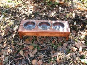 Red Oak Stained Cat or Kitten Elevated Feeder