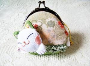 Mini Green White Lucky Cat Clutch Wallet $8.99