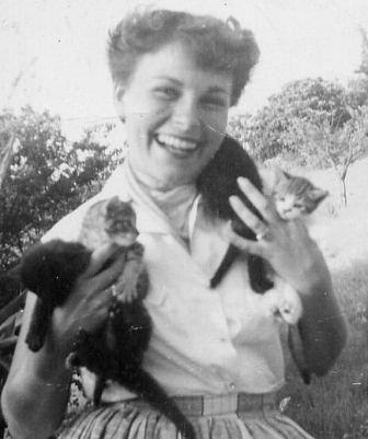 Franny with kittens in 1953
