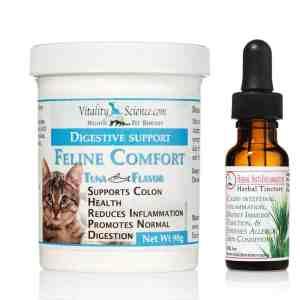 Feline Comfort Tuna 98g & Herbal Anti-Inflammatory .5oz Combo -Stop Diarrhea, Vomiting & Inflammation