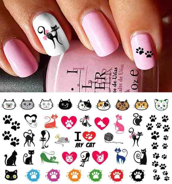 I Love My Cat Kitten Paw Prints Water Slide Nail Art Decals