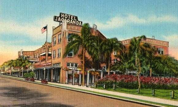 Historic postcard of HOtel Jacaranda. Photo: Florida Memory Project.
