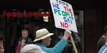 Anti-TPP protests are also being held in other parts of the country. Photo / Callum Osborne