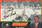 BILL BARBER AUTOGRAPH TEAM ISSUED 4X6 CARD PHILADELPHIA FLYERS w ICEBOX LOA