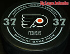 NEW Eric Desjardins 37 Philadelphia Flyers 2015 Official Hall Fame Game Puck
