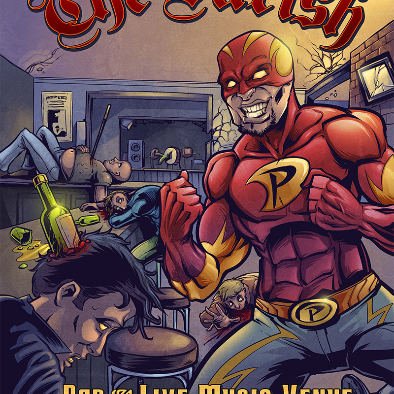 Superhero comic book illustration of a bar fight