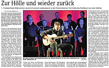 Rheinpfalz Artikel zum 2. Liederabend des FMC