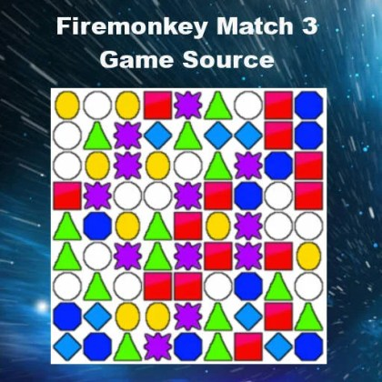 Delphi XE6 Firemonkey Match 3 Bejeweled Game Source Code