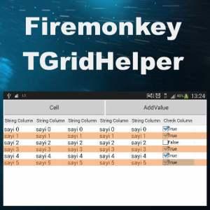 Delphi XE8 Firemonkey Grid Helper Cells Add Android IOS