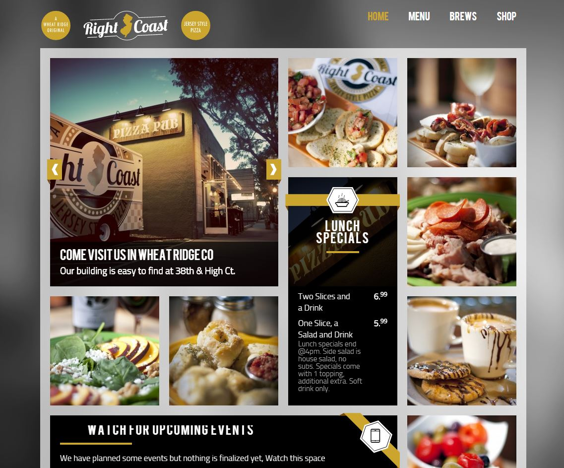 Launched Right Coast Pizza – Website and iPad app